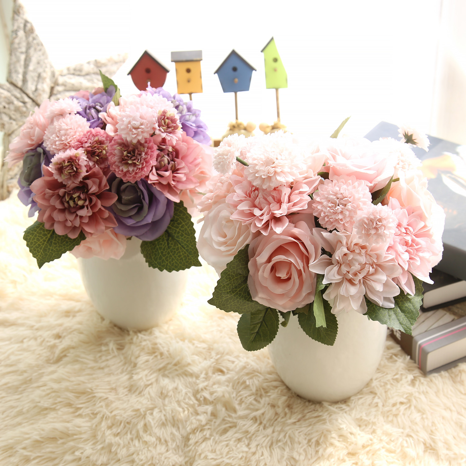 1 Bunsh Silk Artificial Flower Pink Dahlia Wedding Home Party Garden