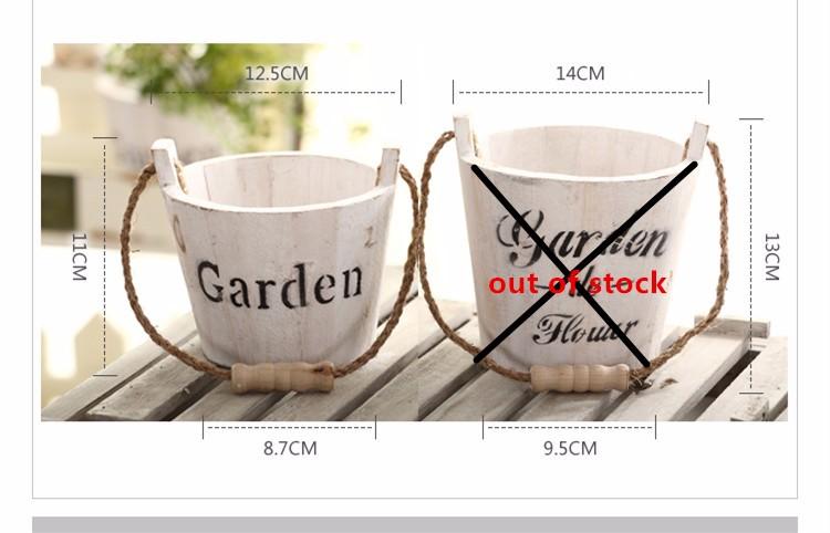 Pastoral Style Wood Flower Tub 1PC Zakka Succulents Nursery Flower Pots Planters Home Garden Hanging Baskets 1