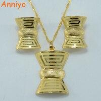 Vintage Greek Fret Set Jewelry Key Pattern Pendant Necklace Earrings 22k Gold Plated Jewelry African Wedding