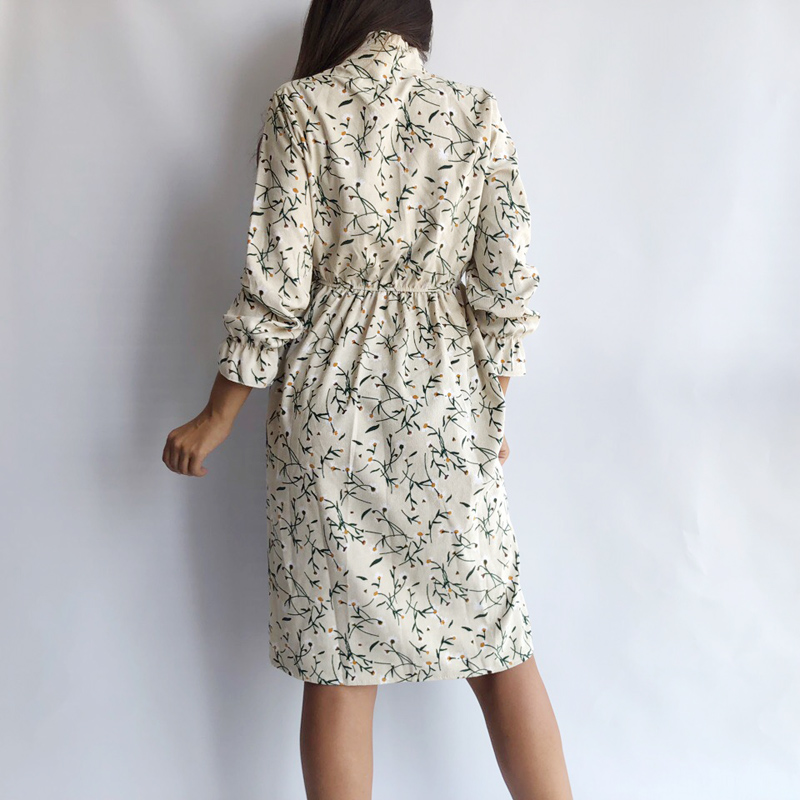Image 2 - Corduroy Soft Floral Print Women Autumn Winter Dress Stand Collar Female Party Loose Dresses Elastic Waist Beach Vestidos-in Dresses from Women's Clothing