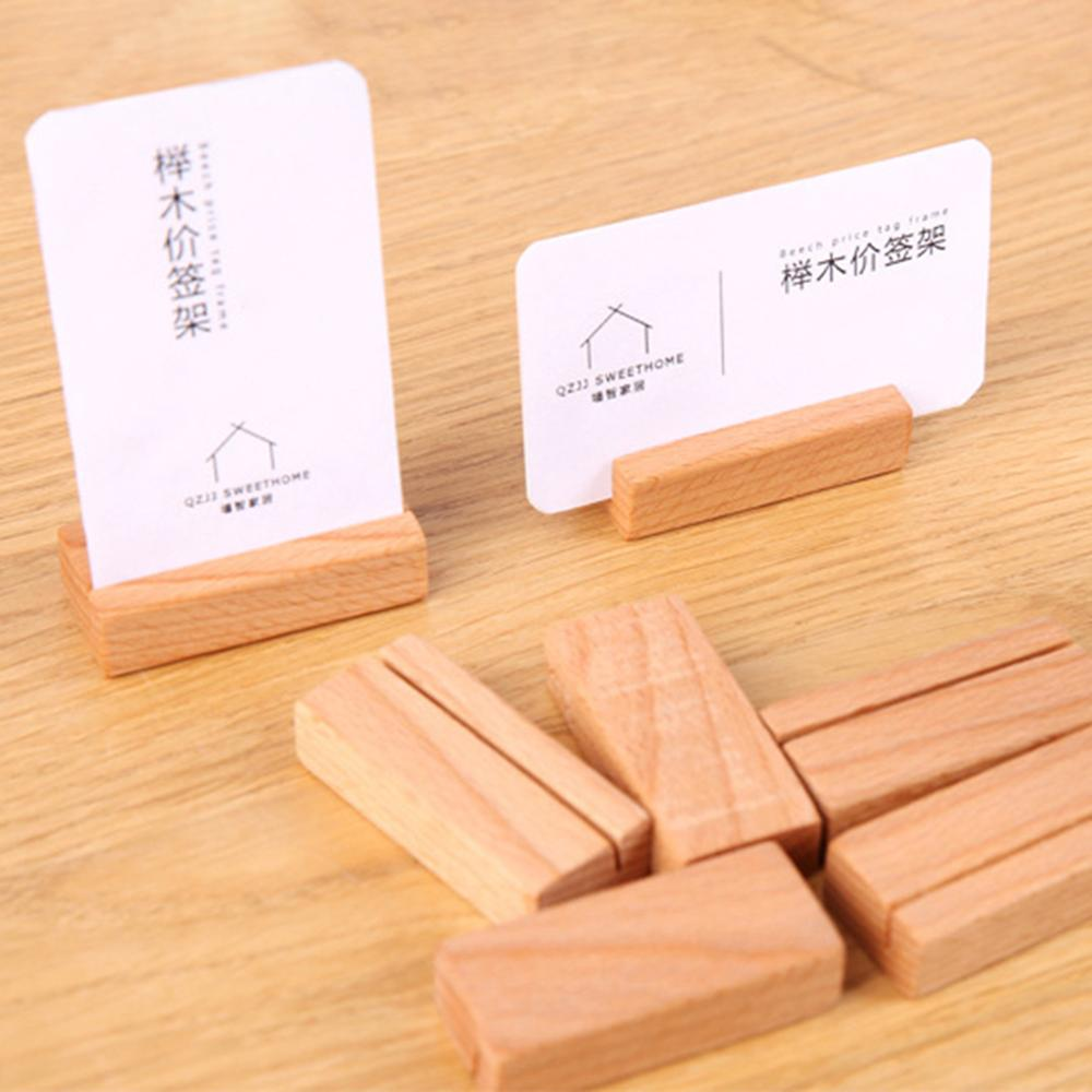 Wooden Numbers Photo Display Stand Business Card Holder Name Memo Clips Office Desk Organizer Dinner Party