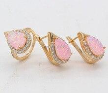 Especial de la joyería azul / Multicolor / naranja / blanco / Pink Waterdrop ópalo de fuego Zirconia 925 chapado en oro aretes y anillo Set 5 colores