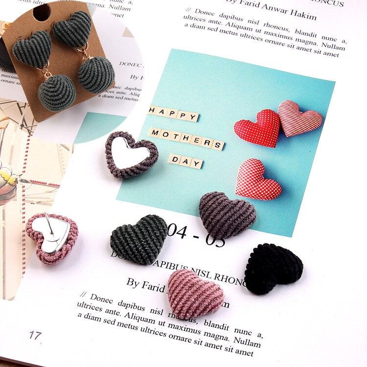 DIY Mix Colors  Heart Shape Flatback Corduroy Button Ear accessories