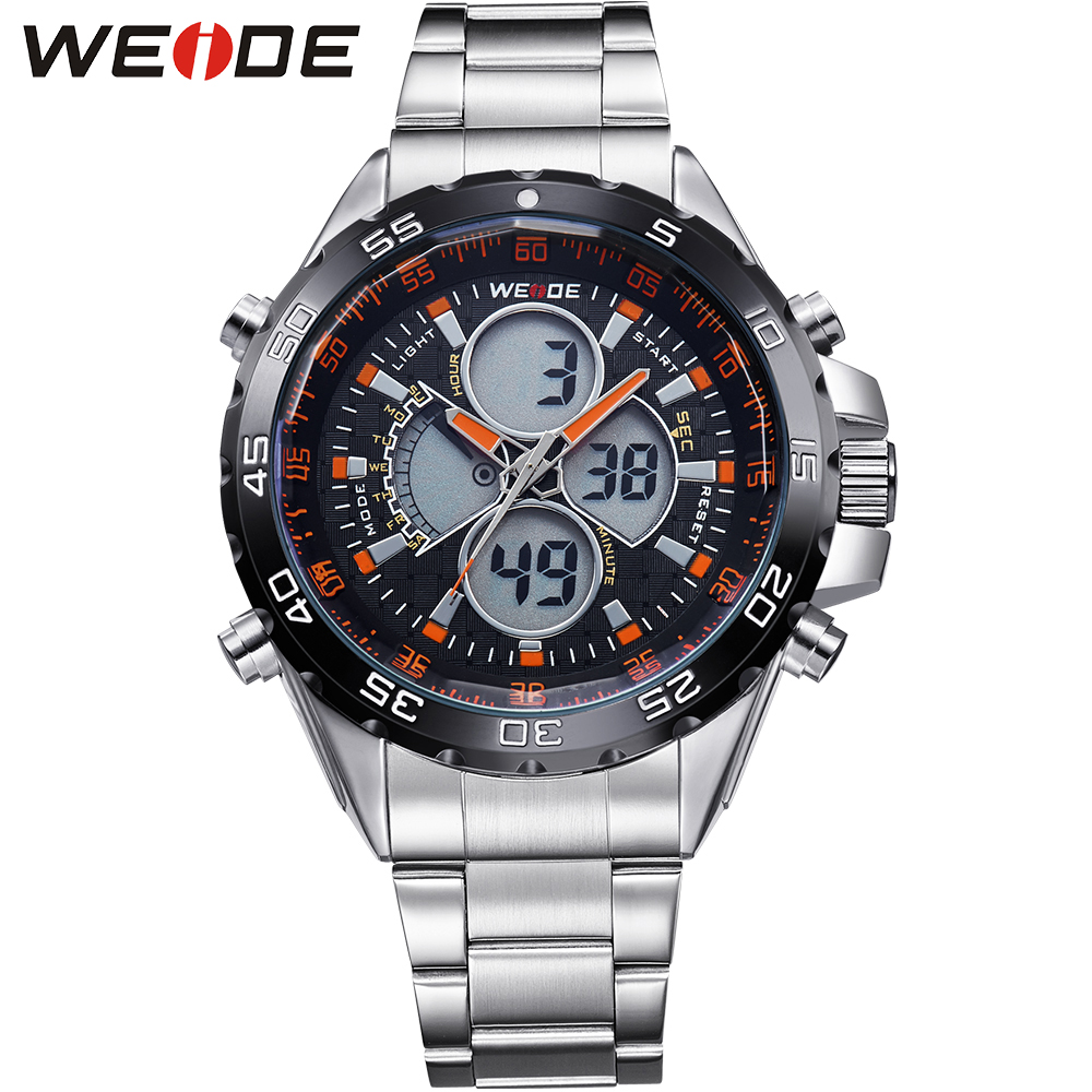 ФОТО WEIDE Watch Mens Fashion Watches Luxury Brand Analog Digital Quartz Movement Waterproof Stainless Steel Strap Relogio Masculino