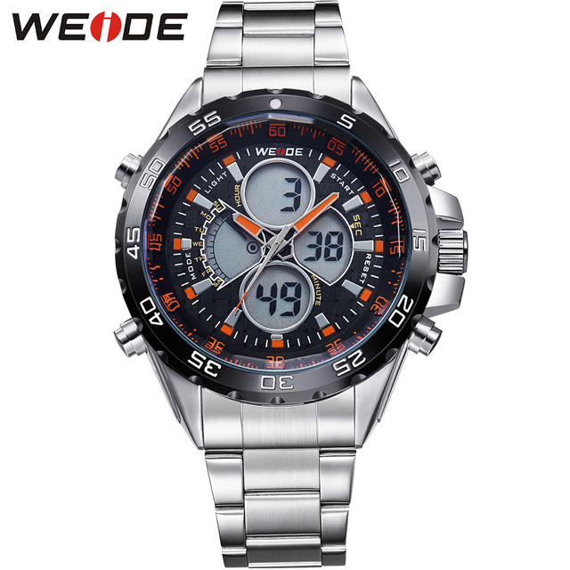 WEIDE Watch Mens Fashion Watches Luxury Brand Analog Digital Quartz Movement Waterproof Stainless Steel Strap Relogio Masculino