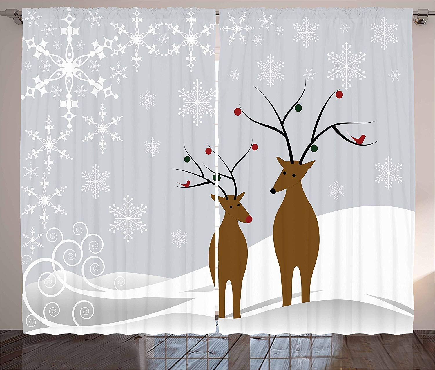 Christmas Curtains Cute Reindeers At Noel Time Yule With Snowflakes In Winter Santa Print Living Room Bedroom Window Decor