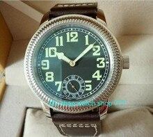 44mm parnis asian st3621/6498 movimento do vento mão mecânica relógios dos homens relógios mecânicos mostrador preto luminosa o55