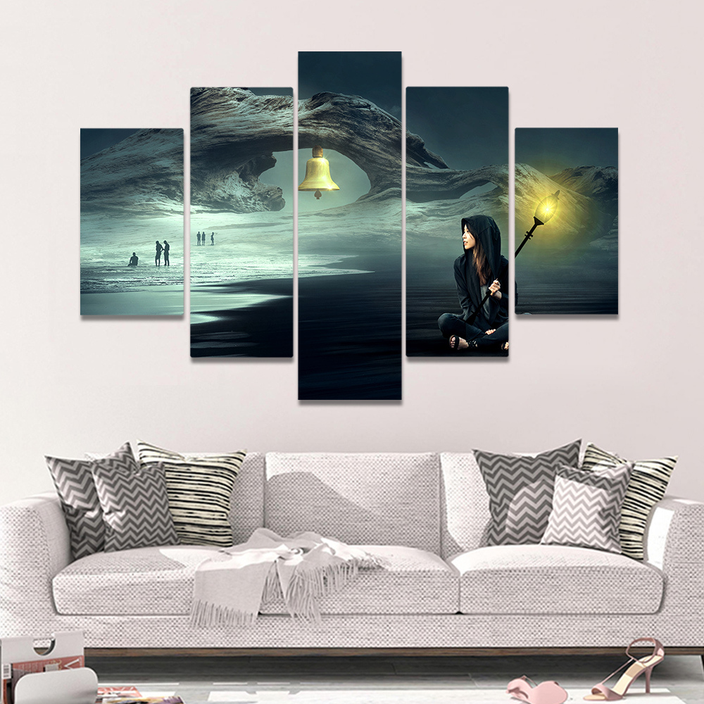 Unframed Canvas Painting Gothic Rock A Girl Wth A Light Bell Picture Prints Wall Picture For Living Room Wall Art Decoration