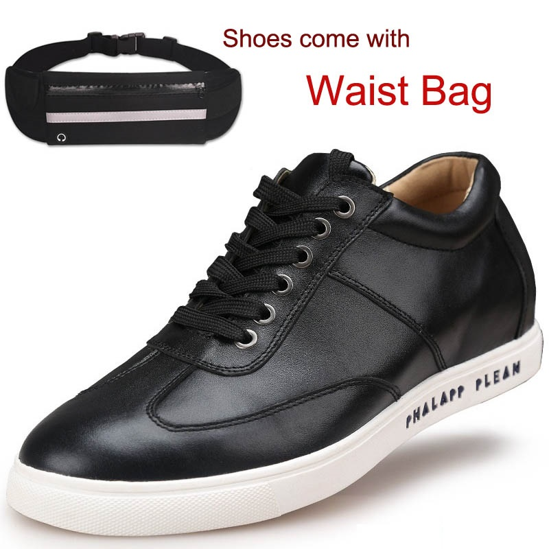 Fashion Leisure Calf Leather Shoes Flats Height Increasing Elevator Shoes 2.36 inches comes with Belt