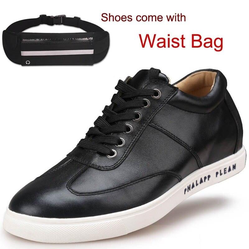 Mode Loisirs Veau En Cuir Sport Chaussures Appartements Ascenseur Chaussures Hauteur Croissante 2.36 pouces est livré avec une Taille Sac