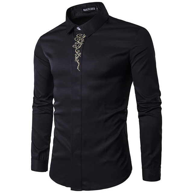 High Quality Men's Shirts 2017 Fashion Turn Down Collar Long Sleeve Embroidery Dress Shirts Men Business Work Tops Shirt S-2XL 4