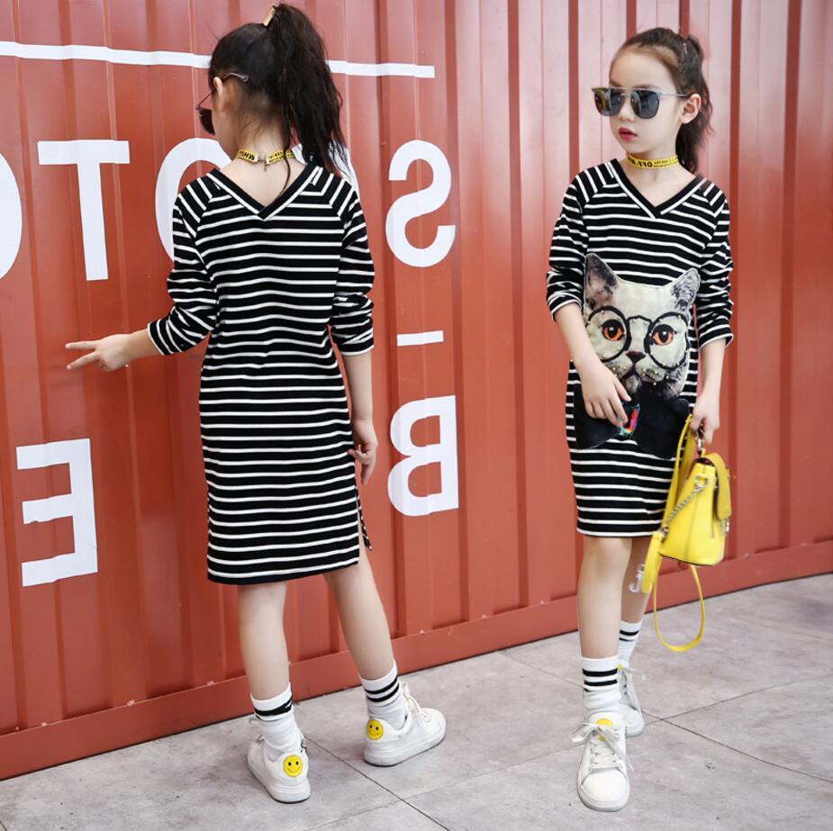 Girl Dress Autumn 2017 Long Sleeve Black & Gray Stripes Girls Cotton Dress Teenage Dress vestidos Infantis Clothes