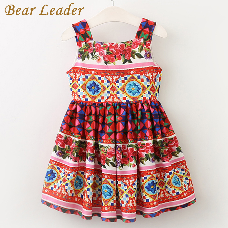 Bear Leader Girls Dress 2017 Brand European and American Style Princess Dresses Sleeveless Summer Floral Printing Design Dresses bear leader girls dress 2016 new summer style party dress stella the swallow embroidered sleeveless dress girls princess dress