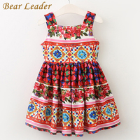 Bear Leader Girls Dress 2017 Brand European And American Style Princess Dresses Sleeveless Summer Floral Printing