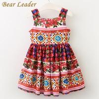 Bear Leader Girls Dress 2017 Brand European And American Style Princess Dresses Sleeveless Summer Floral Printing