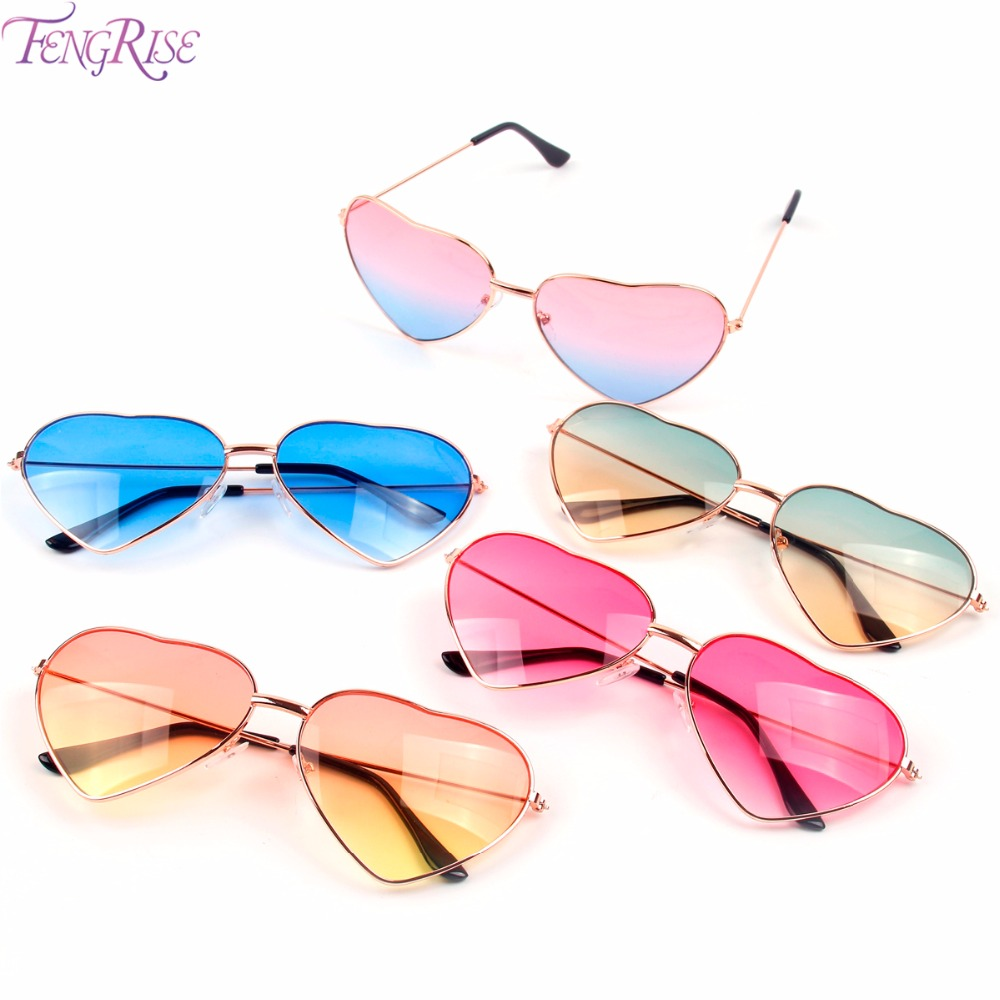 FENGRISE Hawaiian Party Decorations Sunglasses Summer Pool Theme Plastic Glasses New Fashion Women Heart Shaped