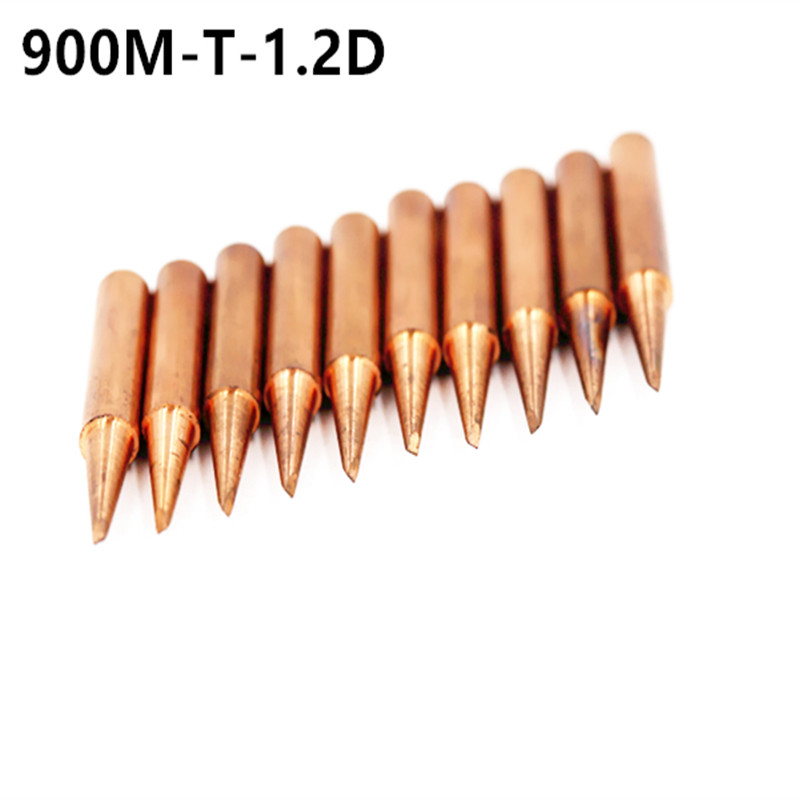 10piece 900M-T-1.2D Diamagnetic Copper Soldering Iron Tip Lead-free Solder Tip 933.376.907.913.951,898D,852D+ Soldering Station