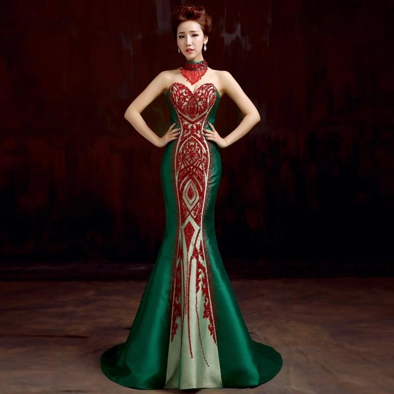 zelena saten beaded zavoj sirena od ramena dugo kineski cheongsam - Nacionalna odjeća - Foto 1