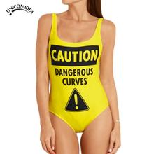 2017 New Sexy Women Bodysuit Caution Dangerous Curves One Piece Swimsuit Swimwear Bathing Suit Monokini Biquini Sport Jumpsuits