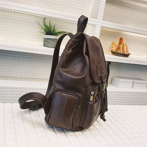 Image 3 - 빈티지 여성 배낭 십 대 소녀에 대 한 고품질 가죽 학교 가방 큰 Drawstring 배낭 블랙 브라운 배낭 XA50H