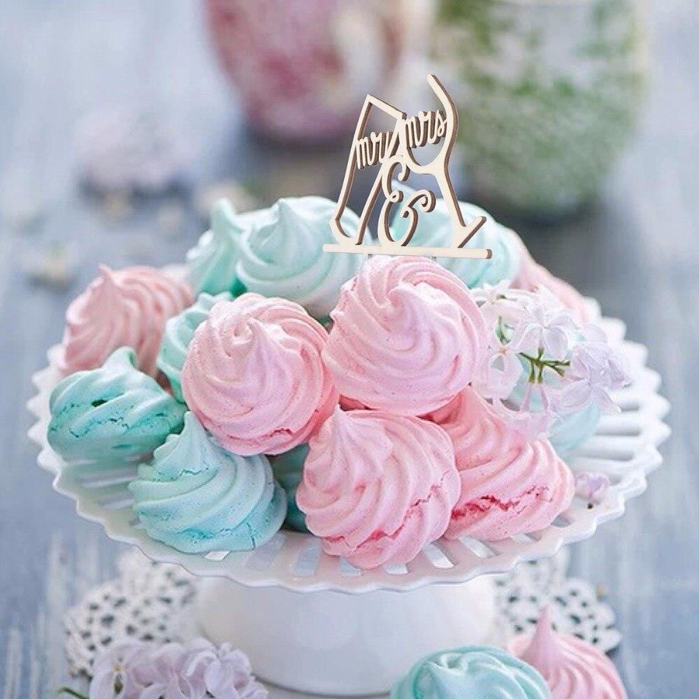 Bride Groom Wood Cake Topper Mr Mrs Tree Cake Topper Wedding Cake ...