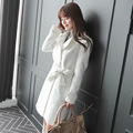 The new 2016 cloth coat female long dust coat lapel coat of cultivate one's morality