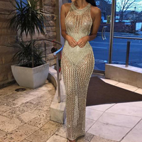 Missord 2018 Summer Women Sexy Off Shoulder High Neck Hollow Out Dresses Female Gold Color Elegant