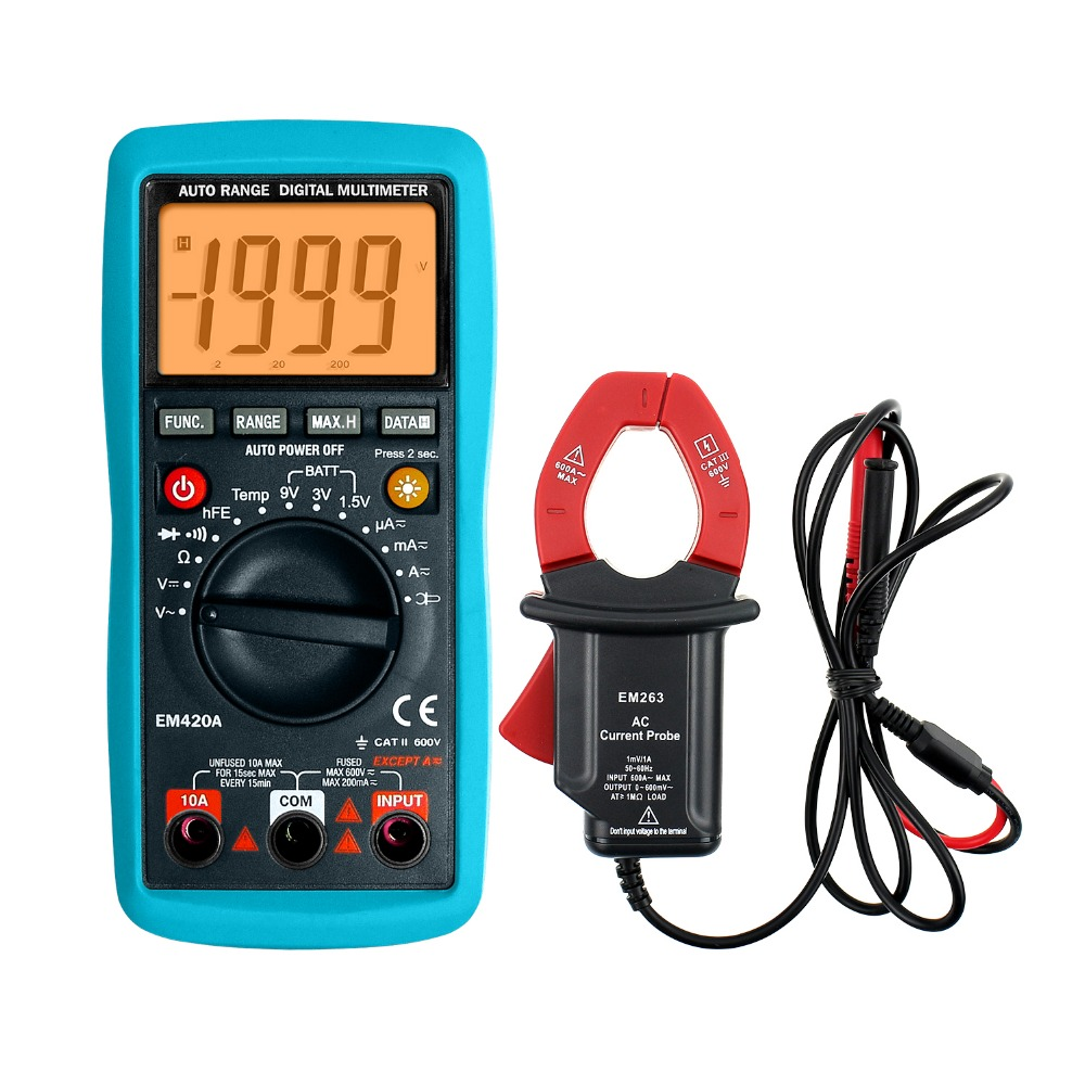 ФОТО Multimeter With Current Probe Clamp AC/DC Voltage Temp.Continuity Diode Transistor Battery Tester EM420A+EM263  all-sun
