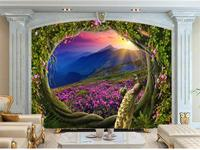 Custom Size 3d Photo Wallpaper Kids Room Mural Totoro Big Tree Rivers 3d Painting TV Background