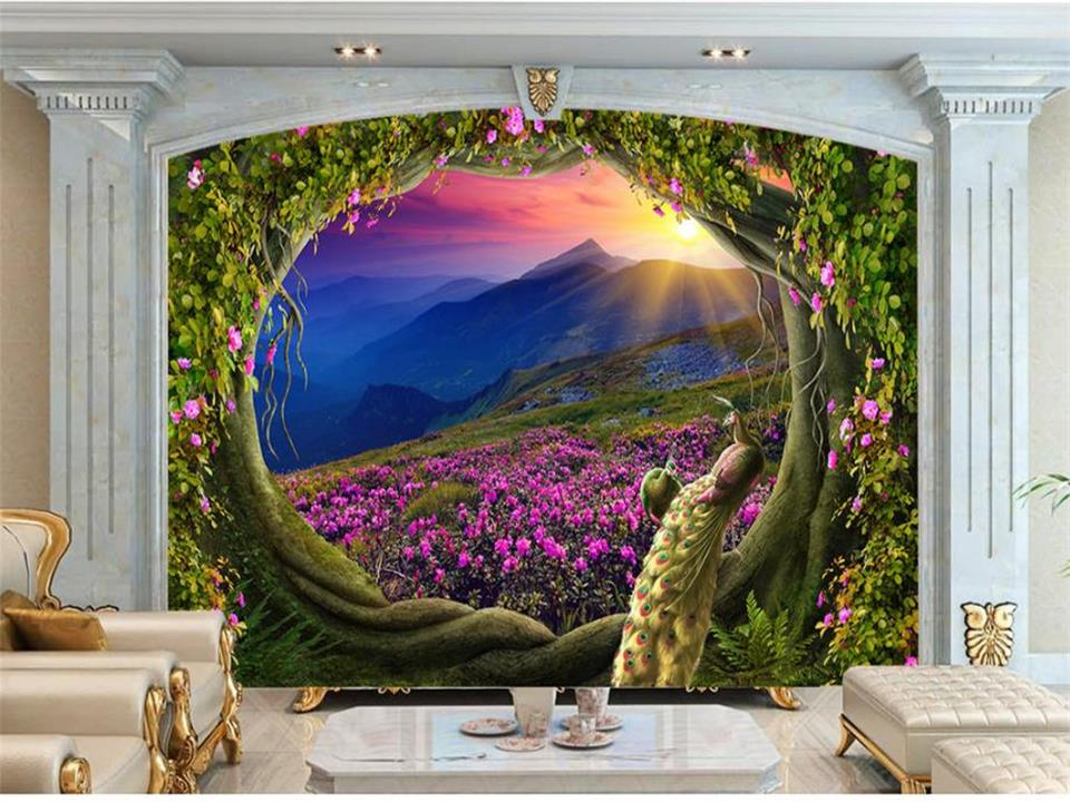 Us 141 53 Offcustom Size Wallpaper 3d Photo Wallpaper Kids Mural Livingroom Magic Garden Fairies Painting Tv Background Wallpaper For Wall 3d In