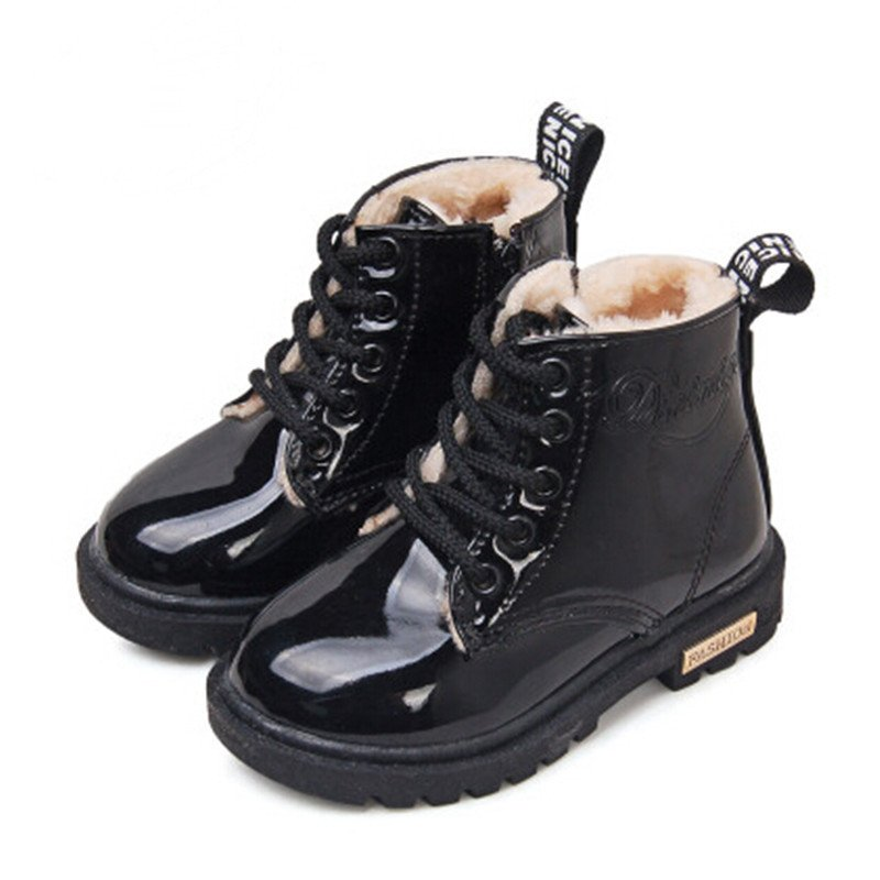 2019 New Winter Children Snow Boots PU Leather Waterproof Kids Velvet Martin Boots Boys Girls Casual Shoes Fashion Sneakers