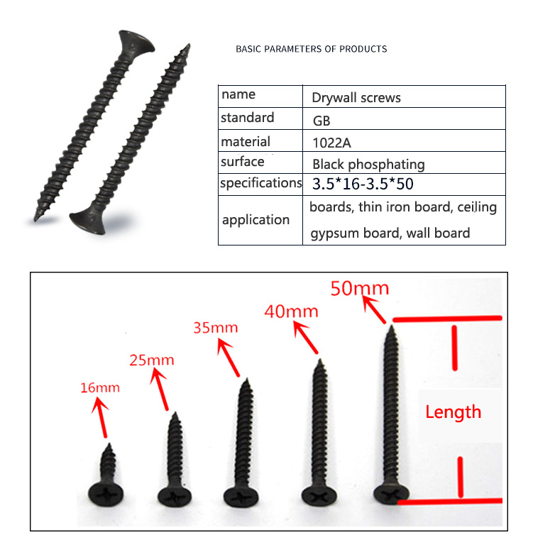 US $0 88  Drywall screws M3 5 16MM 20MM 25MM 30MM 35MM 40MM 50MM-in Screws  from Home Improvement on Aliexpress com   Alibaba Group
