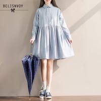 Mori Girl Preppy Style Sweet Dress 2017 Spring Autumn Women Plaid Loose Long Sleeve Shirt Dresses