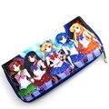 Nueva Historieta Del Anime Sailor Moon Cartera Femenina Larga Cremallera Bolsa de Dinero Hombres de Las Mujeres de LA PU de Cuero Titular de la Tarjeta Monedero Carteras