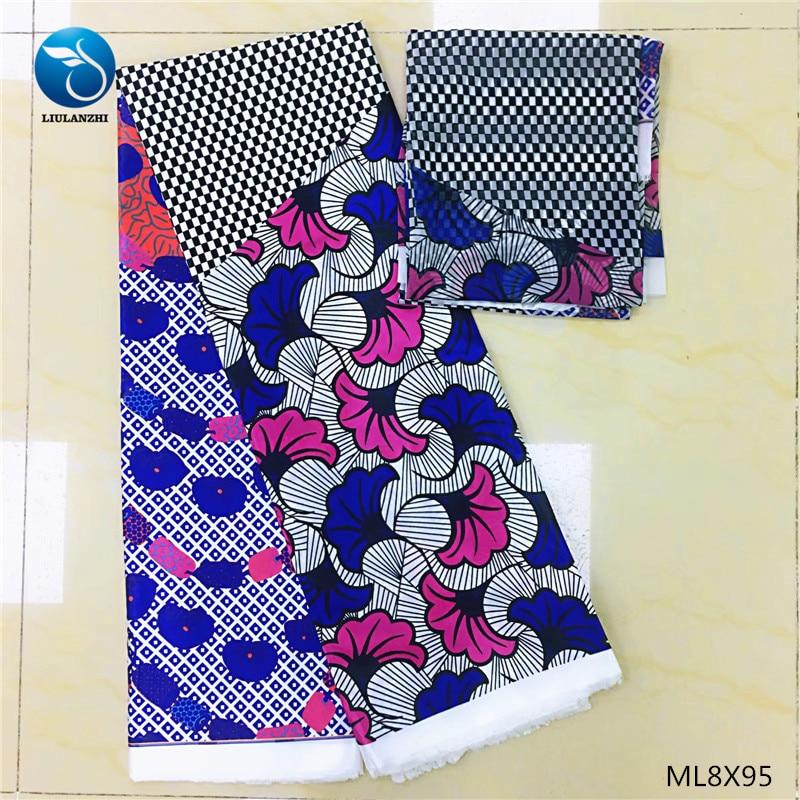 LIULANZHI nigerian fabric ankara wax new arrival 6 yards silk wax printing for dresses ML8X95LIULANZHI nigerian fabric ankara wax new arrival 6 yards silk wax printing for dresses ML8X95