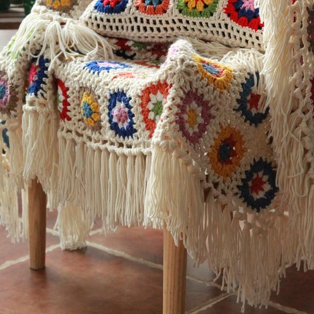120x60 Cm Fringe Deken Oma Vierkante Haak Sofa Gooi Bloemen Deken