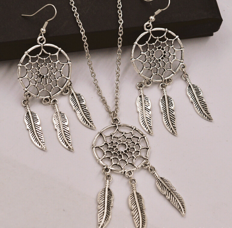 Jewelry Sets Competent Dreamcatcher Feathers Charms Choker Statement Collar Vintage Silver Necklace Earrings Jewelry Sets For Women Dress Brand S150