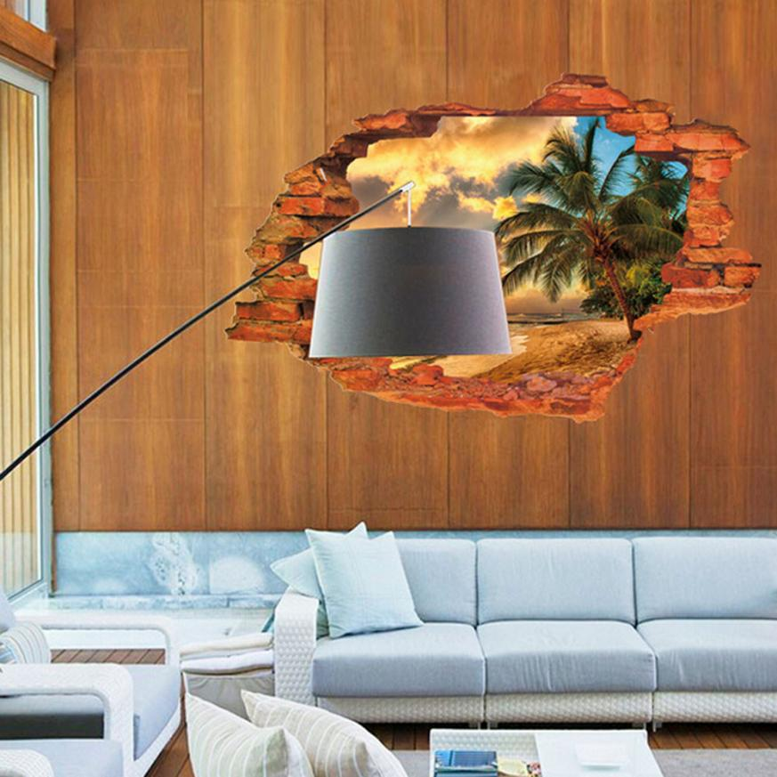 Super deal 3d wall decals sunset seascape 3d window view for Decal wall art mural