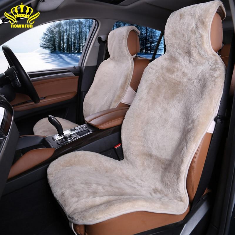 1 pc 100% Naturel de fourrure en peau de mouton Australien housses de siège de voiture universel taille pour un siège avant couverture accessoires automobiles 2015