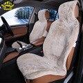 1 unid 100% piel Natural de piel de oveja Australiana fundas de asiento de coche universal tamaño para un asiento delantero cubre accesorios de automóviles 2015