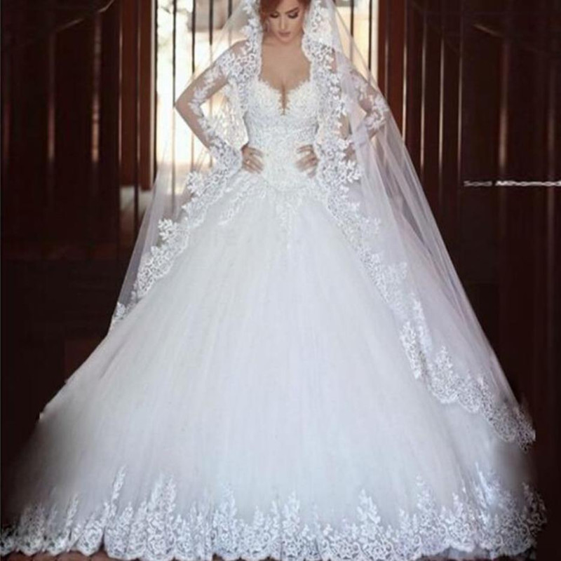 Luxury Vintage Lace Long Sleeves Wedding Dress 2017 Ball Gown Princess font b hijab b font