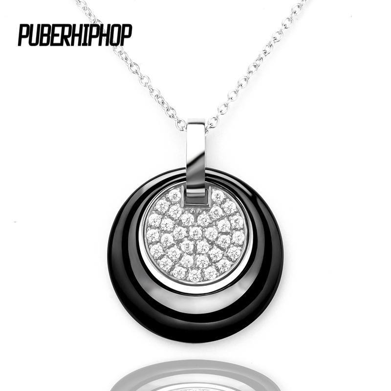 New Double Layers Circle Ceramic Pendant Necklace With A Friendship Pendant For Women Rhinestone Black Women Ceramic Necklace