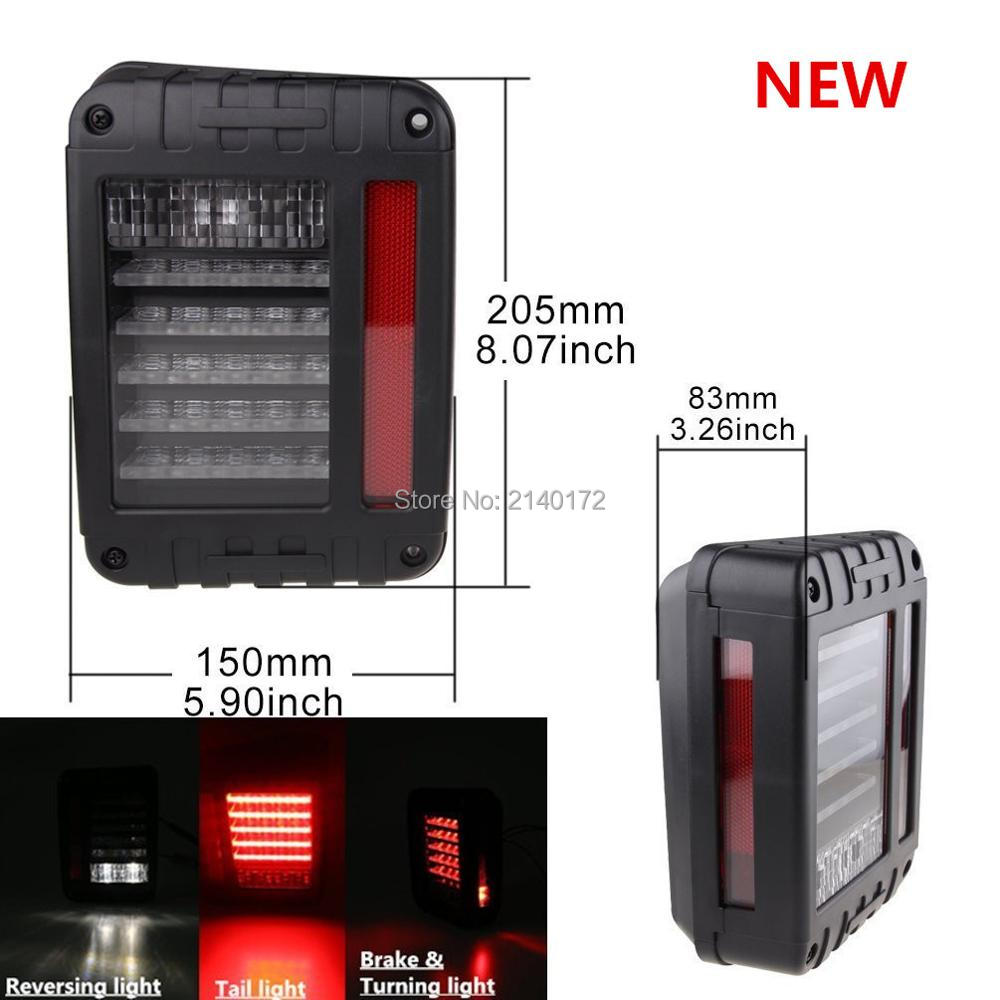 Fits for 2007-2015 Wrangler Unlimited JK LED Rear tail light signal Reverse lamp White Red 2pcs metal black hood buckle catch lock latches hold down for wrangler jk unlimited 2007 2016