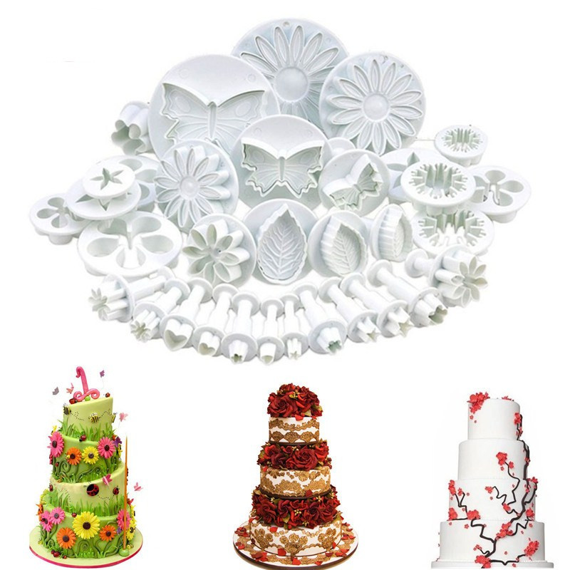 33pcs Plunger Fondant Cutter Tools Cookie Cake Mold Biscuit Mold Craft DIY 3D Sugarcraft Cake Decorating Tools Flower
