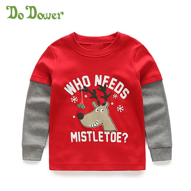 Do Dower Christmas Baby Boys And Girls Shirts Blouse ELK Deer Line Striped Shirts For Boy Infantil Elasticity Tops Kid Clothing