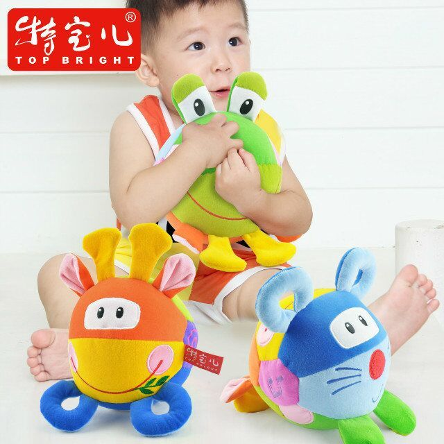 Candice guo baby toy soft plush grasping ball colorful 3 sides animal Cow frog mouse multi-touch bell rattle birthday gift 1pc