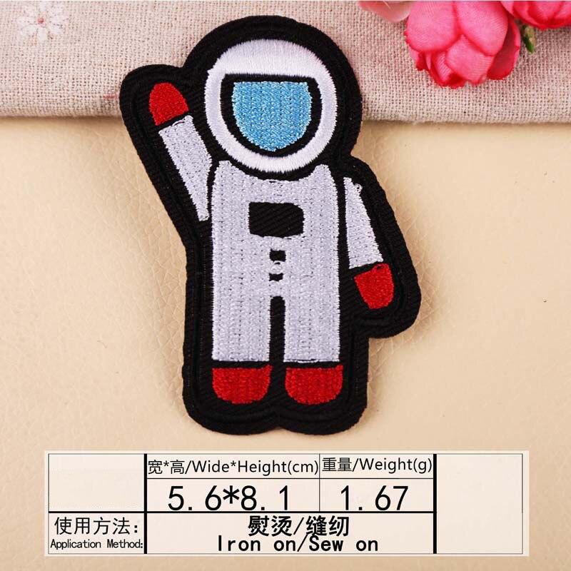 Космонавты и ракеты планета вышивка патч теплопередачи железа на пришить патчи для DIY Наклейка на одежду декоративная аппликация 47233 - Цвет: W