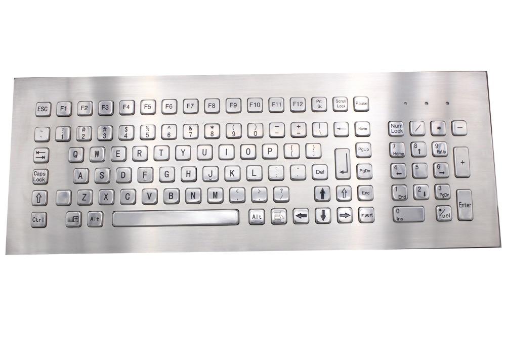 103 Keys Stainless Steel Computer Keyboard USB Metal Industrial Keyboard For Self service Kiosk
