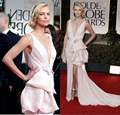 Plus Size Deep V neck Light Pink A-Line Beading Ruched Long Celebrity Inspired Dresses 2015