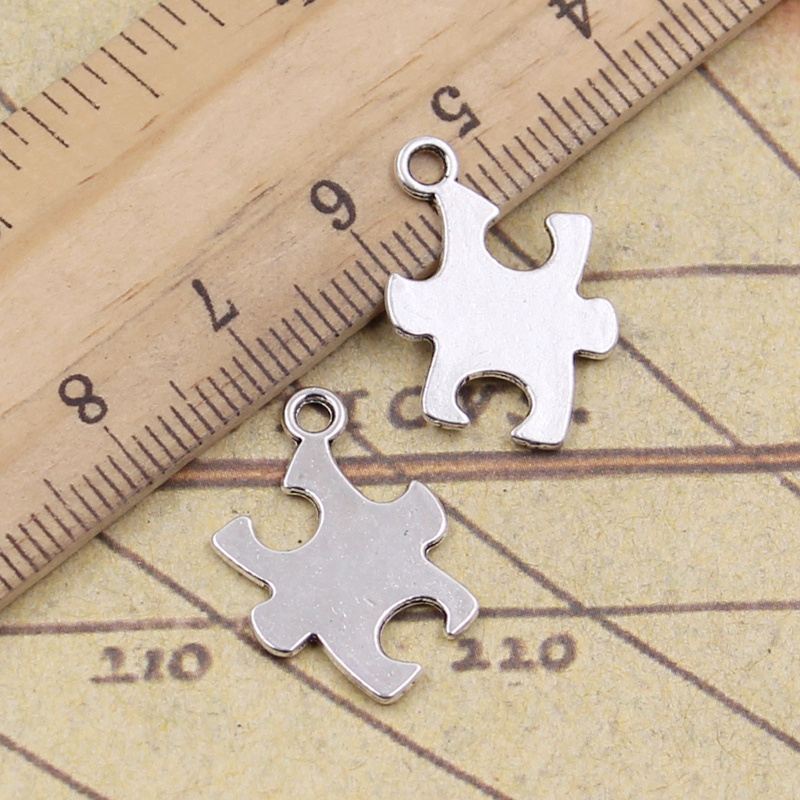 30pcs Charms Jigsaw Puzzle Piece Autism Awareness 20x14mm Antique Bronze Silver Color Pendant Making DIY Tibetan Finding Jewelry(China)